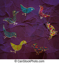 Background frame with birds and paper texture