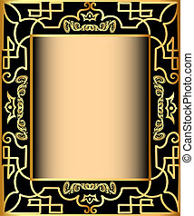 background frame with gold(en) pattern and crown