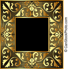 background frame with gold(en) vegetable ornament and net