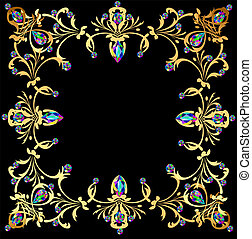 background frame with jewels of gold ornaments