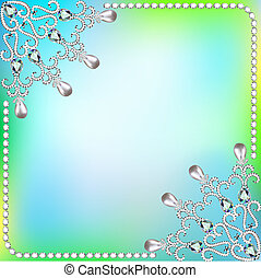 background  frame with ornaments made of precious stones and pea