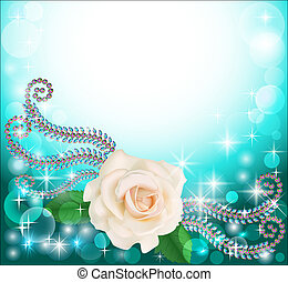 background frame with precious stones and floral