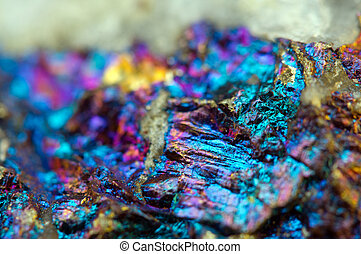 Background from a metal mineral with a crystal. Macro. Photo for your successful business design