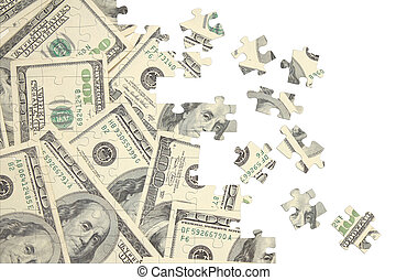 Background from a puzzle with the image of dollars