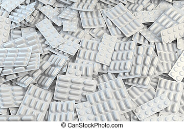 Background from blisters with capsules and pills. Medication and pharmacy concept.