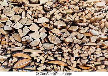 Background from end faces of the fresh wooden bars of a...