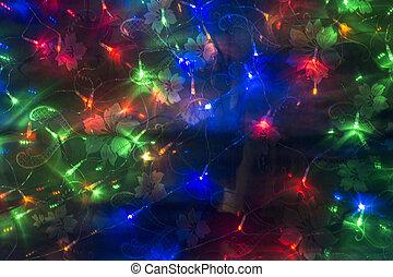 Background from festoon colour light bulb