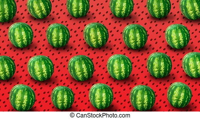 Background from fresh watermelons - Fresh watermelons on red...