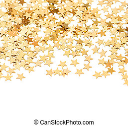 background from golden confetti in star shape - festive...