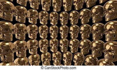 Background from golden skulls
