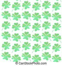 background from green handdrawn trefoil