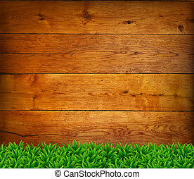 Background from oak boards with green grass.