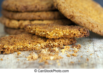 Background from oatmeal crumb biscuits