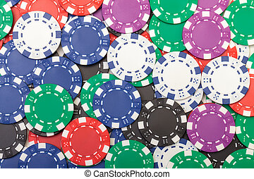 Background from of Multicolored Poker Chips