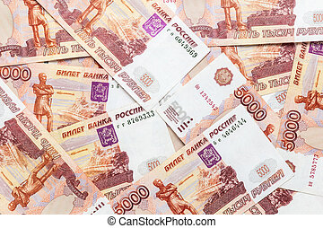 background from overlapping russian rubles banknotes - ...