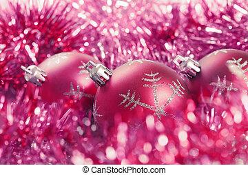 christmas balls with tinsel