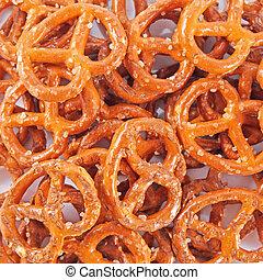 Background from salted fresh pretzels