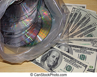 Background from the destroyed compact disks. - Piratic...