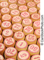 Background from wooden kegs of a lotto