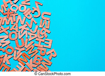 Background from wooden letters. Concept of education