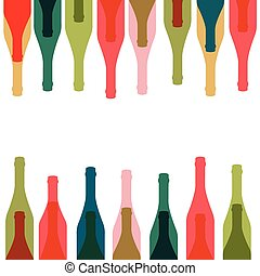 Background glass of alcohol - Bottles silhouette .Vector...