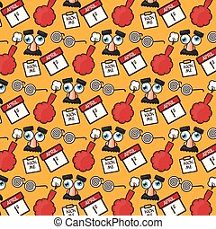 background glasses cushion calendar april fools day vector illustration
