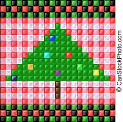 background gloss cubes and Christmas tree - abstract colored...