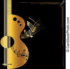 background golden guitar - on dark background is abstract ...