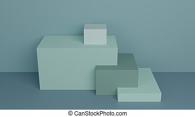 Background green boxes 3D render