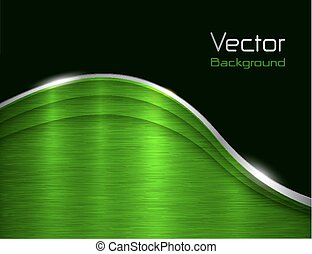Background green metallic with brushed metal texture, vector...