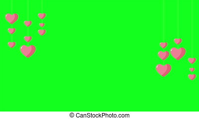 Background green screen with animation love. Valentine...