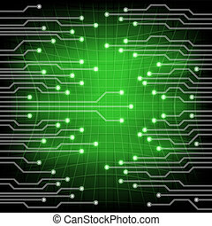 Background green with electroschemes . The abstract image of electrical circuits used in various devices