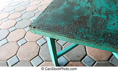 background Green wooden table