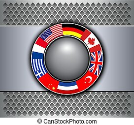 Background grey with flags button