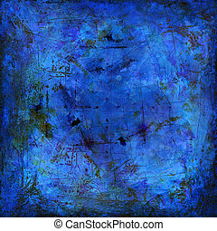 background grunge on canvas - hand painted blue background...