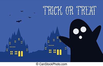 Background Halloween night woith dark castle