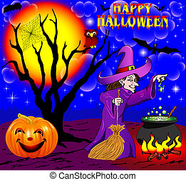 background Halloween with the boiler of a tree and a...