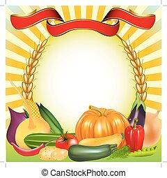 background harvest vegetables ear pumpkin cucumber tomato -...