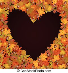 Background heart made of autumn lea