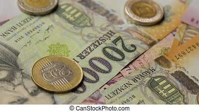 Pile of details and coins as a background (hungarian forint, 20000 10000 5000), spinning
