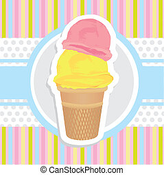 background ice cream cone sticker on bottom lines in light...