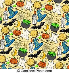 (background), ikony, halloween, seamless, próbka