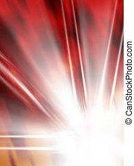 background illustration in red with white star flame