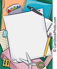 School Supplies - Background Illustration of a Bunch of...