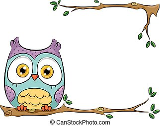 Owl Perched on a Branch - Background Illustration of a Cute...