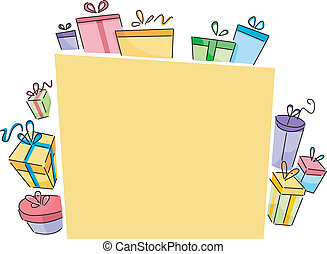 Board with Gift Boxes - Background Illustration of a Yellow...