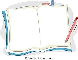 Background Illustration of an Open Blank Notebook with Bookmarks and a Pen