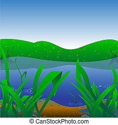 Summer Landscape - Background Illustration - Summer...