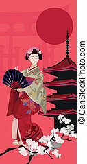 Background illustration with Geisha and Pagoda