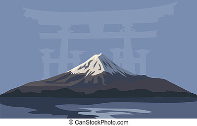 Mount Fuji - Background illustration with Mount Fuji and...